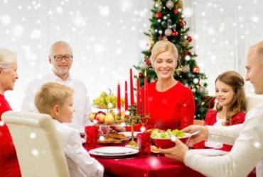 Family around Christmas table