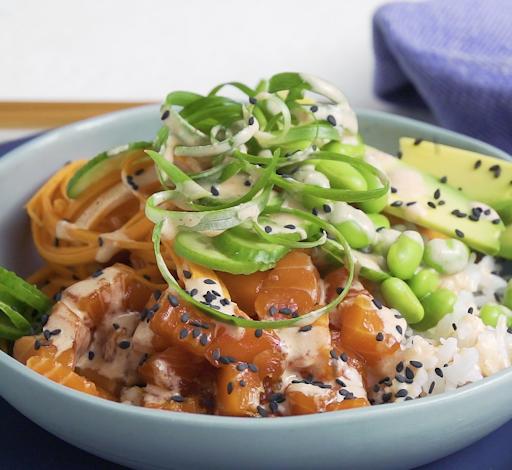 salmon poke bowl with rainbow salad
