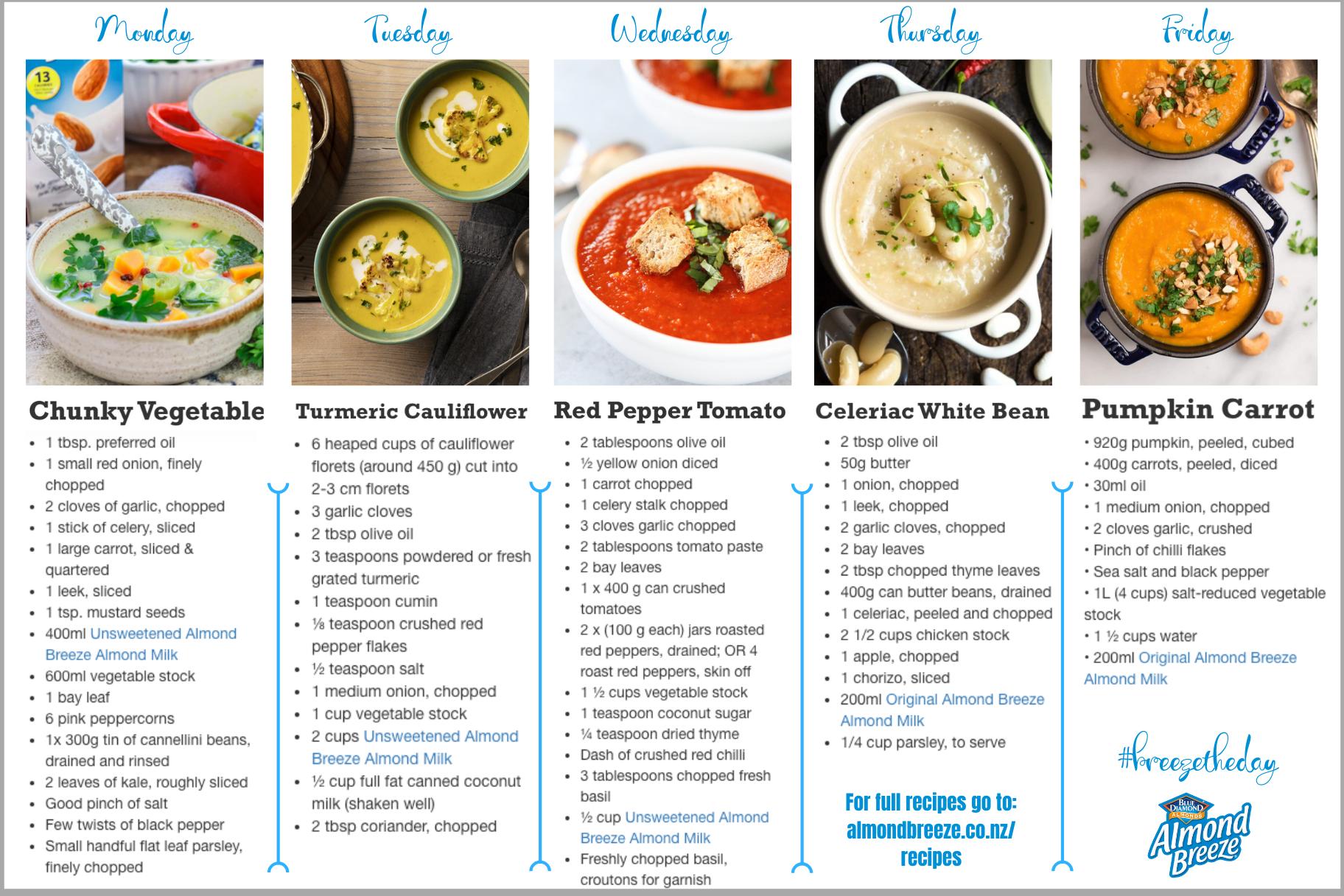 Downloadable soup recipe chart